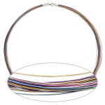 50-Strand Necklace Multi-Coloured Sterling Silver Clasp